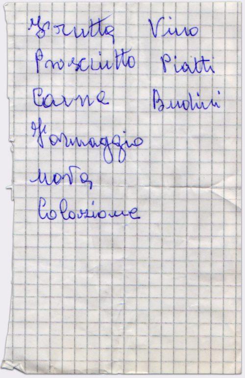 Lista della spesa #54 - Penna a sfera su frammento di foglio a quadretti